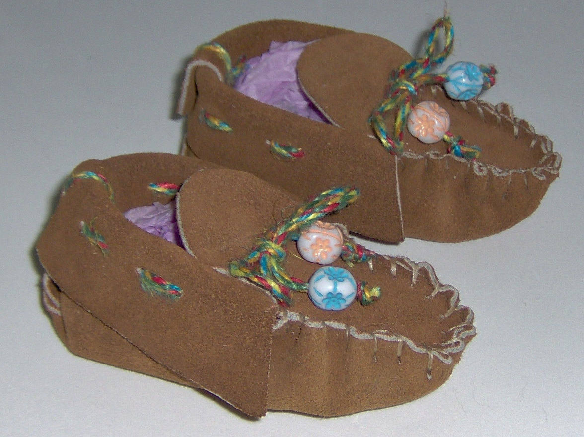 American Made! Brown Leather Baby Moccasins First Infants Moccasins Handmade