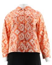 Denim & Co Stretch Twill Ikat Print Jean Jacket Pockets Orange XL NEW A2... - $25.72
