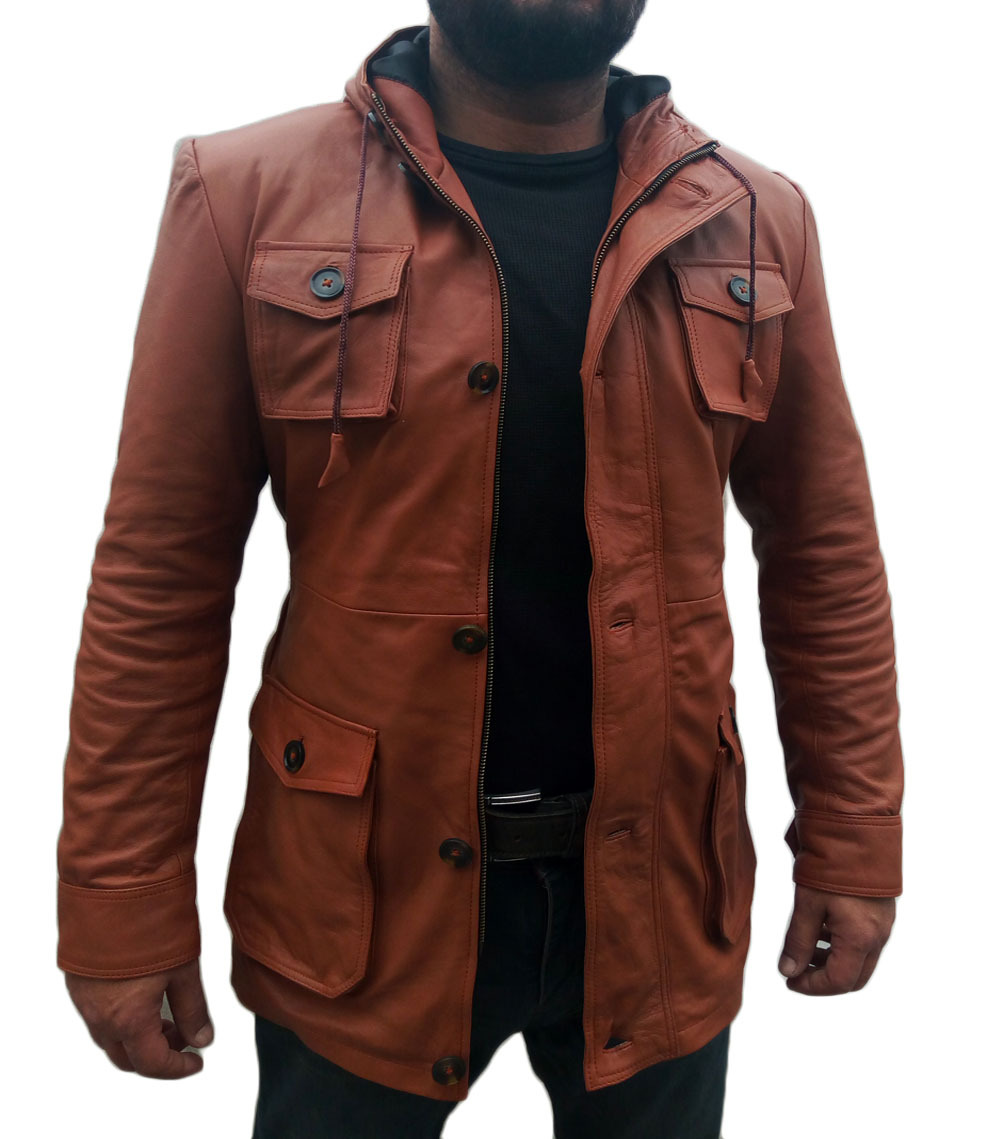 Mens brown leather hooded jacket