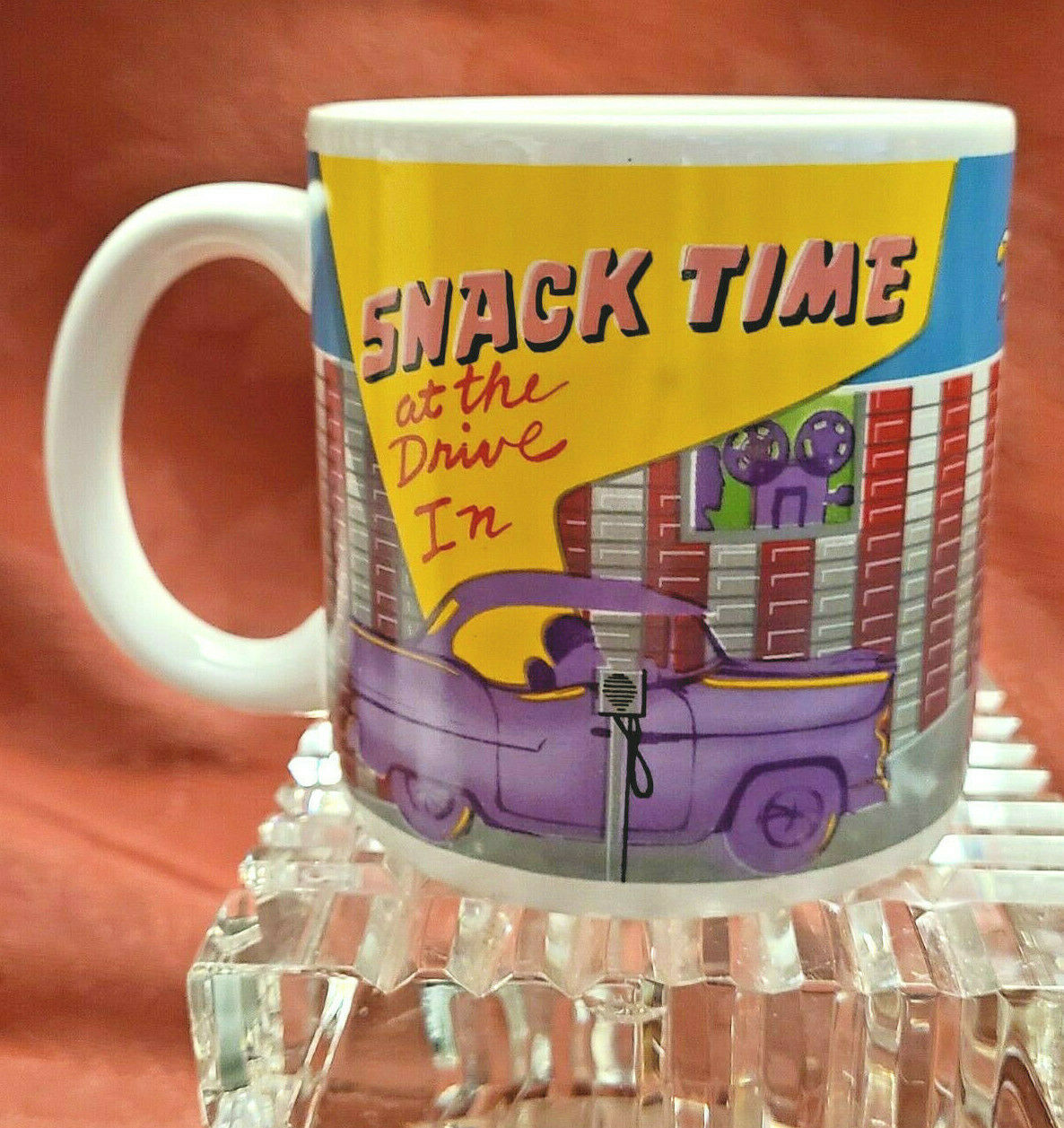 "Standing Ovations Vintage Coffee Mug 1988 ""Snack Time at the Drive In"" Cup NOS"