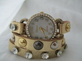 Geneva Women's Stylish Gold Toned Wrap Around Bracelet Wristwatch - $29.00