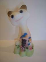"Fenton Glass 6"" Happy Cat Spring Flowers & Bluebirds FAGCA Ltd Ed of 34 Burton - $222.61"