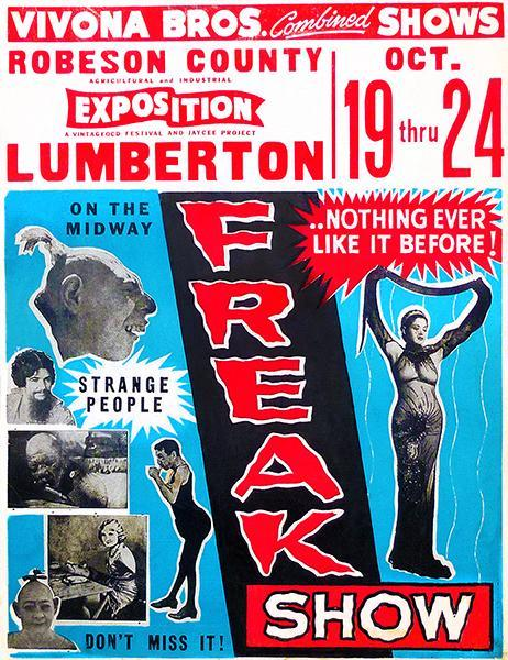 Primary image for 1953 Vivona Brothers Combined Show - Freak Show - Advertising Poster