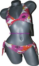 NWT GOTTEX designer bikini swimsuit bright floral 8 Israel halter orange... - $58.19
