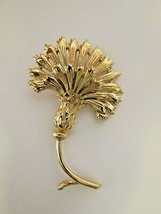 "Vintage Monet Brooch Pin Flower Large Textured Gold Tone 3.5"" Excellent ... - $22.76"