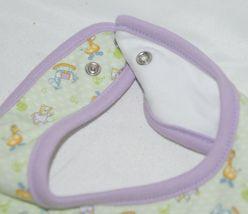 SnoPea Baby Unisex Bib Snap Closure Purple Green Animal Design image 3