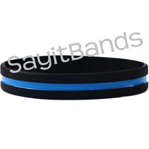 5 The Thin Blue Line Wristband Bracelets Police Law Enforcement Band Adu... - $6.88