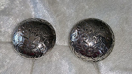 Button flower leaf etched silvertone clip on gorgeous vintage1 ½ inches ... - $15.00