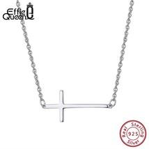 Effie Queen Real 925 Sterling Silver Cross Pendant Necklace Women Jewelry 24mm W - $13.16