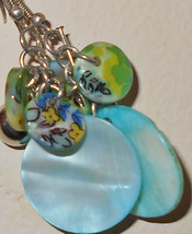 Vintage dangle earrings painted seashell blue shell and silvertone metal 1980s c - $14.00
