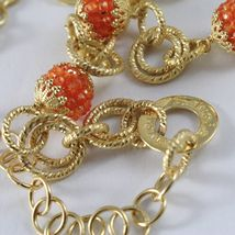 Silver Necklace 925 Yellow Gold Plated Circles Worked with Spheres Carnelian image 5