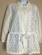 Liz Claiborne Women's Size Large White Eyelet 3/4 Sleeve Button Jacket  - $13.34