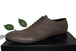 Emporio Armani Gray Olive Leather Men Italian Lace Shoes Size US 12 EU 4... - $242.54