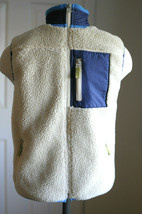 GAP Kids Vest Sherpa Fleece Cream Blue Full Zip Pockets Size M 8 - $24.99