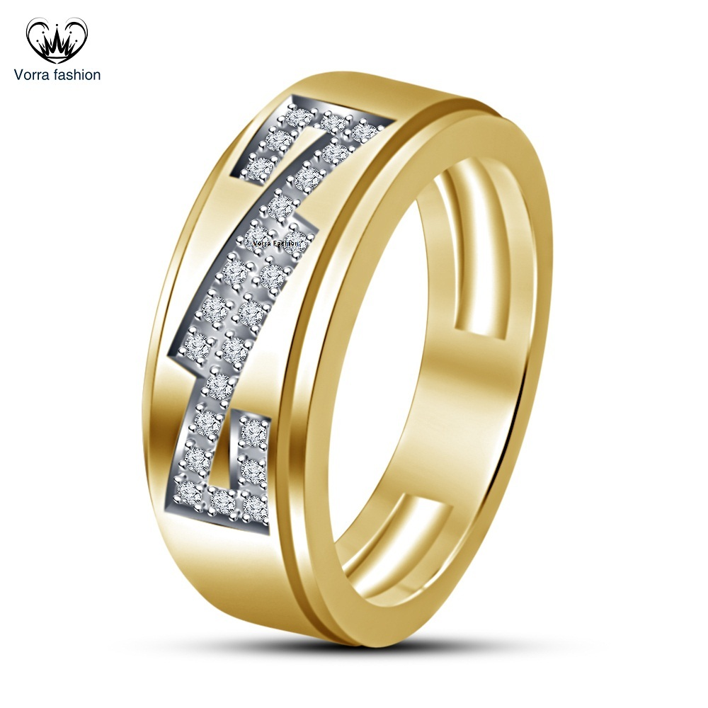 14k Yellow Gold Plated Sterling Silver Round Cut White CZ Engagement Band Ring