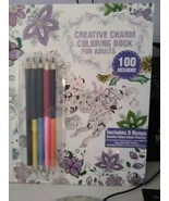 NEW! Creative Charm Coloring Book For Adults with 5 double-sided colored... - $4.99