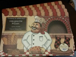 FAT CHEF Placemats Set of 4 Plastic Italian Cook Margherita Pizza Pie Red NEW image 2