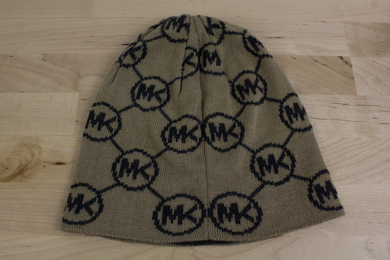 c1b0a818470 ... Michael Kors Beanie Skull Cap MK Logo Print Hat Tan   Black One ...