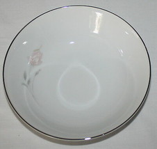 4 Sango Rosanne Soup or Cereal Bowls Pink Rosebud 6176 Platinum Band Japan - $9.85