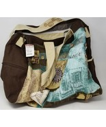 """Paul Brent Beach Bag Blue Brown Tote with Feet and Pockets 20""""x16"""" with ... - $11.87"""