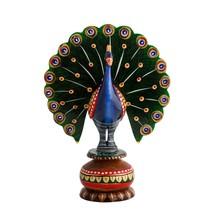 Dancing Peacock Painted Handicraft Showpiece - $40.00