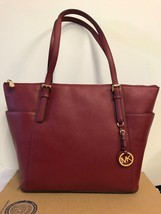 Michael Kors Cherry Leather Jet Set EW Top Zip Tote Shoulder Bag - $136.61