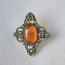 MARSALA sterling silver amber & marcasite brooch art deco design pin wit... - $32.66