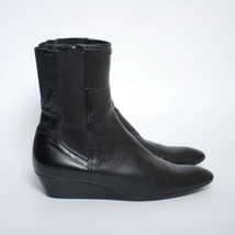 PRADA Women Ankle Boots Black Leather Zip Up Wedge Booties Size EU 40 US 9 - $228.76