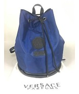 Versace Parfums Mens Blue Black Drawstring Backpack Bucket Bag w Dust Ba... - $117.60