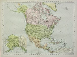 1934 LARGE MAP ~ NORTH AMERICA ~ UNITED STATES CANADA & MEXICO - $62.57