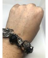 Vintage Crystal Mosaic Link Pewter Stretch Bracelet - $35.58