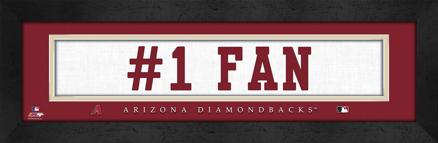 "Arizona Diamondbacks ""#1 Fan"" 8 x 24 Slogan Stitched Jersey Framed Print"