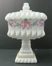 Westmoreland Milk Glass Candy Dish Bowl hand painted rose on Pedestal - $60.00