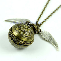 Antique Vintage Spider Web Ball Wing Necklace Pendant Quartz Pocket Watc... - €10,99 EUR