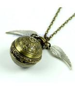 Antique Vintage Spider Web Ball Wing Necklace Pendant Quartz Pocket Watc... - $11.88