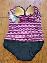 Swim Solutions Purple Vneck One Piece Swimwear Size 18 image 2