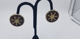 Vintage 1960-70s Brown Wood Background W/ Gold Star Clip On Earrings Han... - $19.32