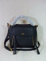 NWT Tory Burch Black Pebbled Half-Moon Cross-Body Bag  - $458 - $403.92