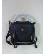 NWT Tory Burch Black Pebbled Half-Moon Cross-Body Bag  - $458 - $403.92