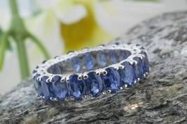 7Ct Oval Cut Blue Sapphire Women Eternity Wedding Band Ring 14k White Go... - $94.04