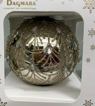 "New Handmade Polish Gold Glass Ball Ornament Boxed 4"" Embellished Faux S... - $22.27"