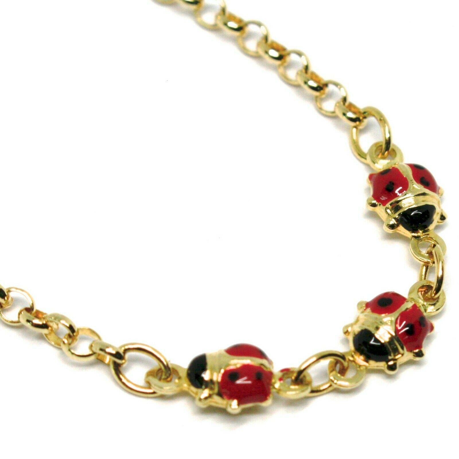 Bracelet or Jaune 18K 750, Fille, Trois Coccinelle Email, 16.5 CM