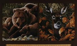 """24"""" X 44"""" Panel Brown Bears Cubs Deer Northwoods Wildlife Animals Cotton... - $9.30"""