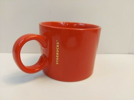 2017 Starbucks Coffee Cup Solid Red Tea Mug Gold Logo Wide 12 fl oz 354 ml - $6.92