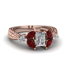 Fantasy Red,White Diamond Emerald Cut Womens Engagement Ring Solid 14k Rose Gold - $479.99