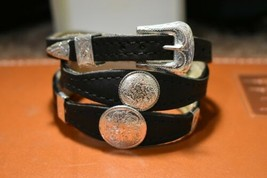 Black Scalloped HATBAND Genuine LEATHER with Silver Round and Rectangle ... - $25.64
