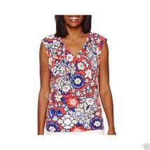 Liz Claiborne Sleeveless Tie-Front Knit Top Size M Grenadine Multi Msrp ... - $16.99