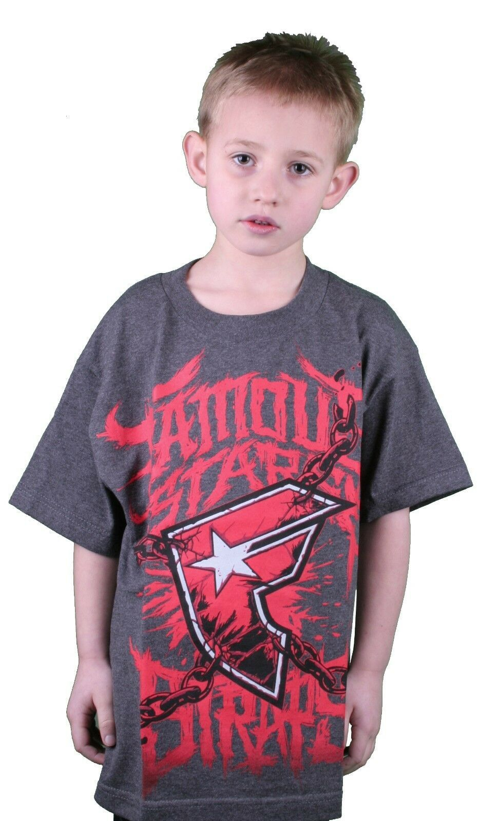 Famous Stars & Straps Charcoal Heather Red War Stories Youth Kids Boys T-Shirt