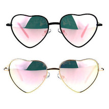 Womens Classic Pink Mirror Metal Rim Valentines Heart Sunglasses - £9.29 GBP
