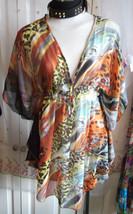 72d1abc04a Boho/Festi/Beach/ orange animal print kaftan/tunic,size 12 NEW